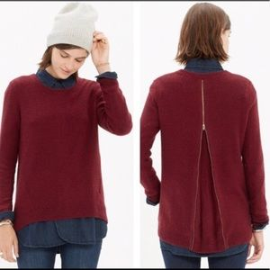 Madewell Sweater Maroon Zip Down, Size XS